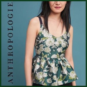 NWT Anthropologie Floral Jacquard Peplum Top